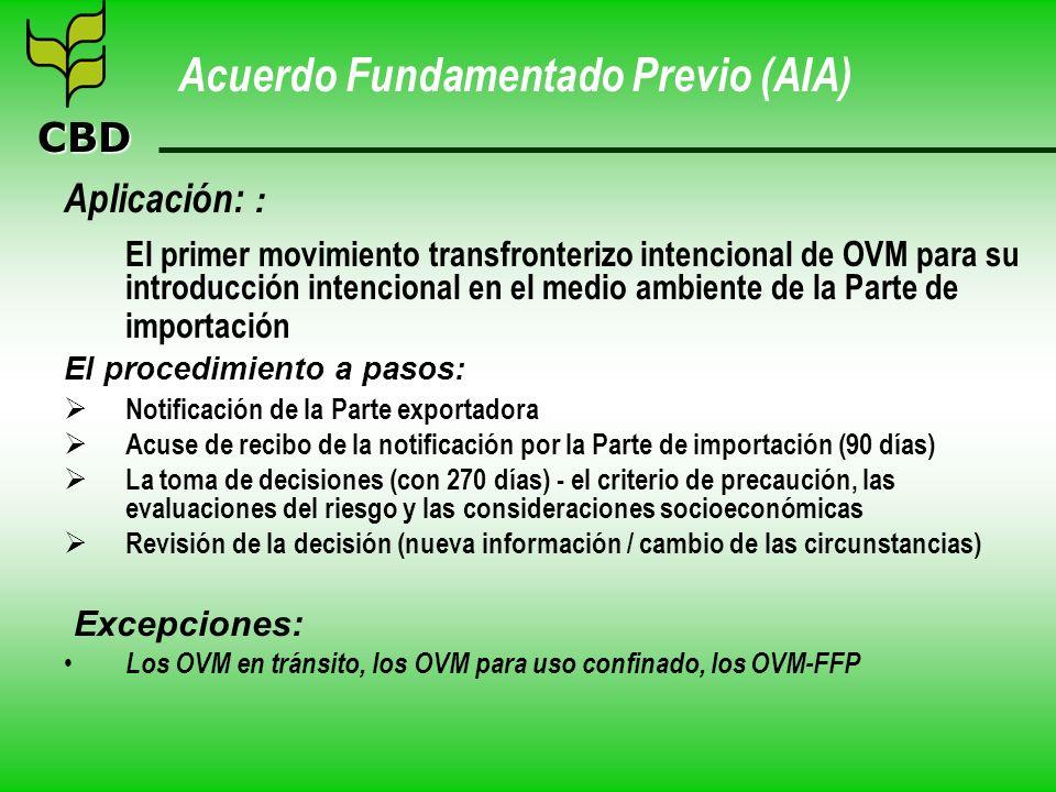 CBD Acuerdo Fundamentado Previo (AIA) Aplicación: : El primer movimiento transfronterizo intencional de OVM para su introducción intencional en el med