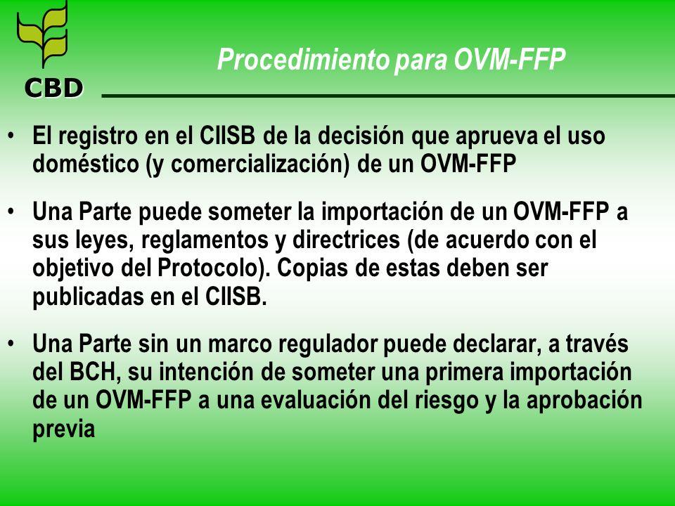 CBD Procedimiento para OVM-FFP El registro en el CIISB de la decisión que aprueva el uso doméstico (y comercialización) de un OVM-FFP Una Parte puede