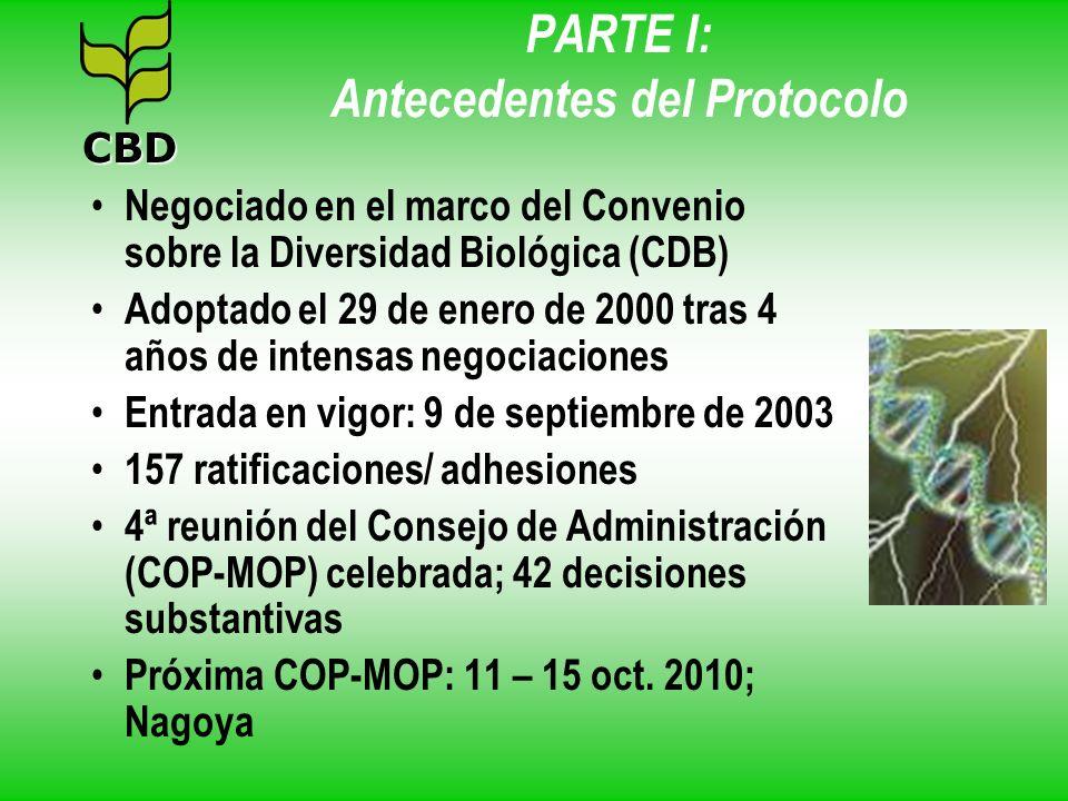 PARTE I: Antecedentes del Protocolo Negociado en el marco del Convenio sobre la Diversidad Biológica (CDB) Adoptado el 29 de enero de 2000 tras 4 años