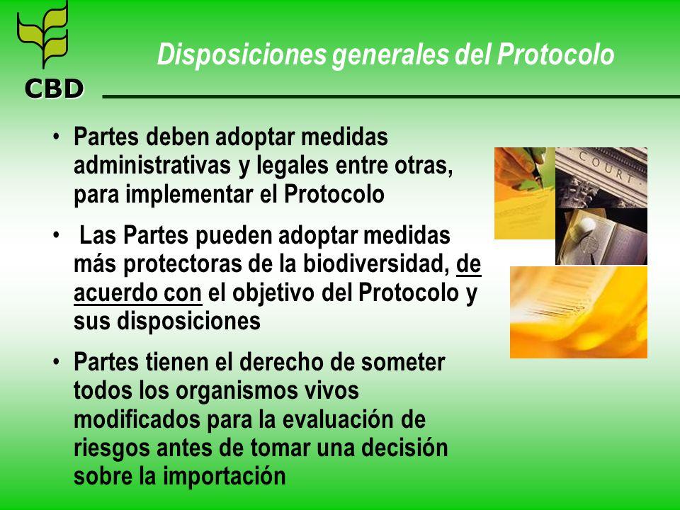 Criterio de precaución Objetivo: transferencia, manipulación y utilización seguras de los OVM Centro de Intercambio de Información sobre Seguridad de la Biotecnología (BCH), Creación de capacidad, Cumplimiento y COP-MOP Mecanismos de apoyo: Evaluación del Riesgo Gestión del Riesgo -Intercambio de Información Concienciaci ón y participación del público Procedimientos: - Procedimiento de AFP - Procedimiento para OVM-FFP - La toma de decisiones Manipulación, transporte, envasado e identificación: - Documentación de envío - Normas Las principales disposiciones del Protocolo CBD