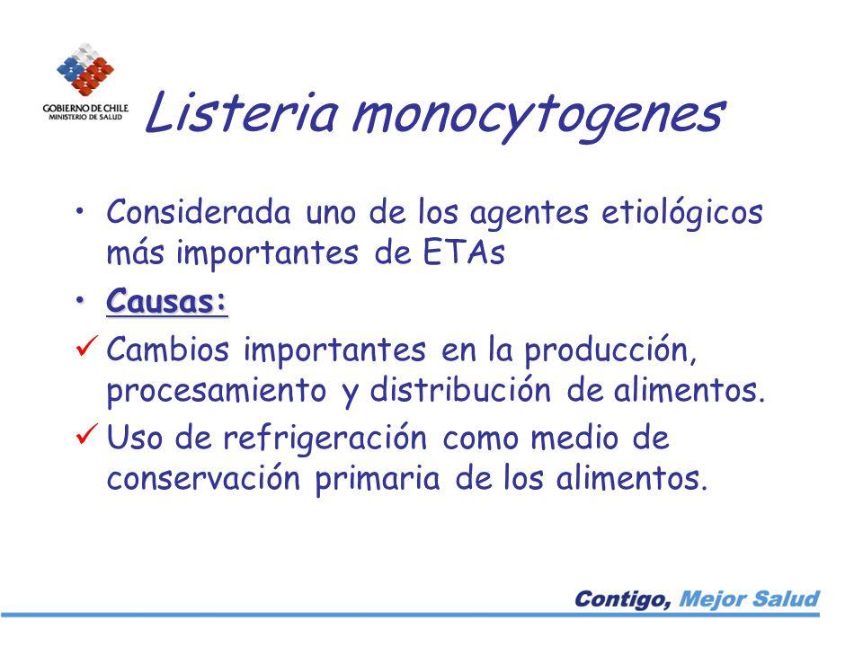 Listeria monocytogenes Considerada uno de los agentes etiológicos más importantes de ETAs Causas:Causas: Cambios importantes en la producción, procesa