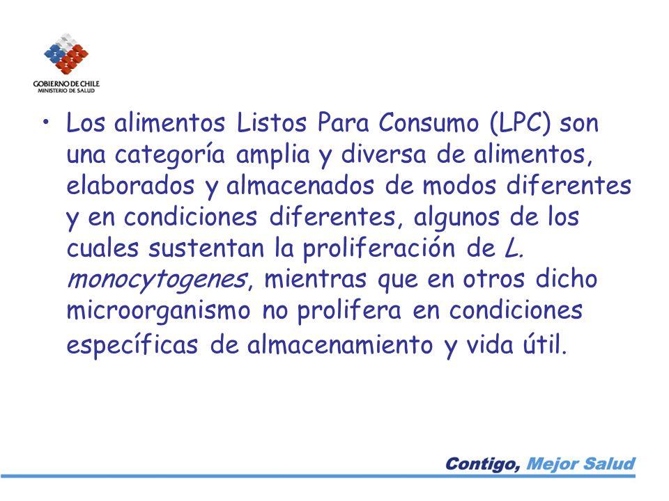 Los alimentos Listos Para Consumo (LPC) son una categoría amplia y diversa de alimentos, elaborados y almacenados de modos diferentes y en condiciones