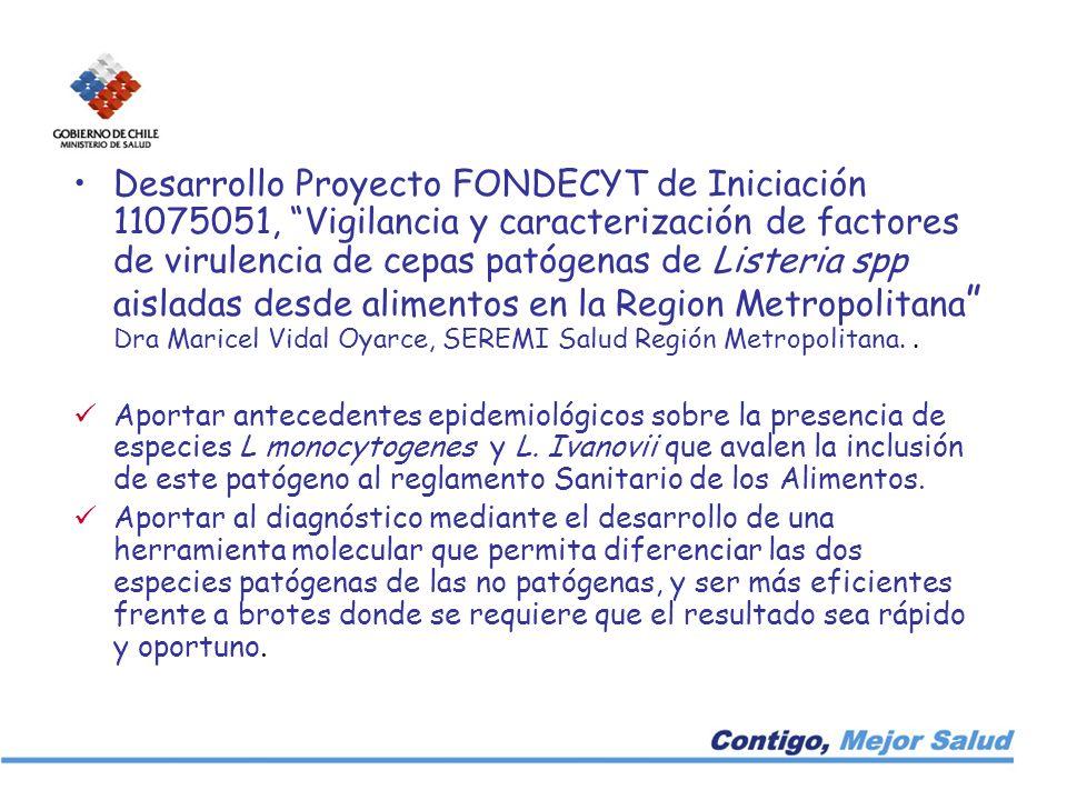Desarrollo Proyecto FONDECYT de Iniciación 11075051, Vigilancia y caracterización de factores de virulencia de cepas patógenas de Listeria spp aislada
