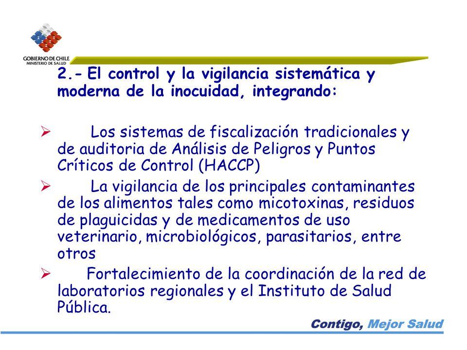 2.- El control y la vigilancia sistemática y moderna de la inocuidad, integrando: Los sistemas de fiscalización tradicionales y de auditoria de Anális