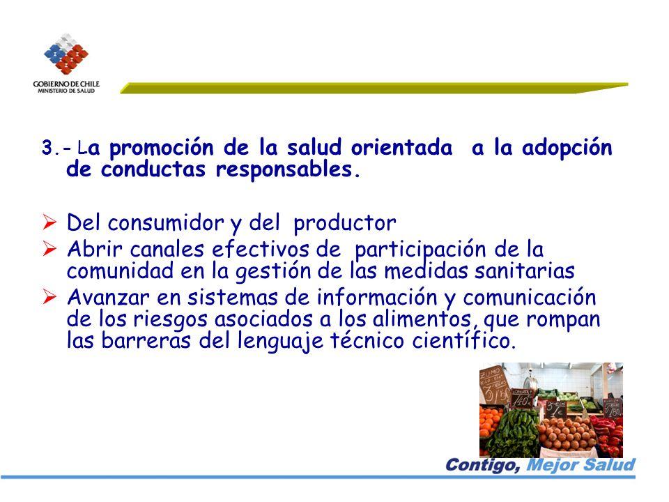 3.- L a promoción de la salud orientada a la adopción de conductas responsables. Del consumidor y del productor Abrir canales efectivos de participaci