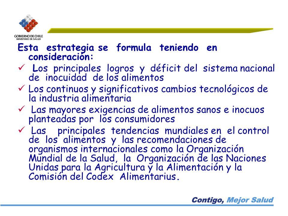 Esta estrategia se formula teniendo en consideración: Los principales logros y déficit del sistema nacional de inocuidad de los alimentos Los continuo