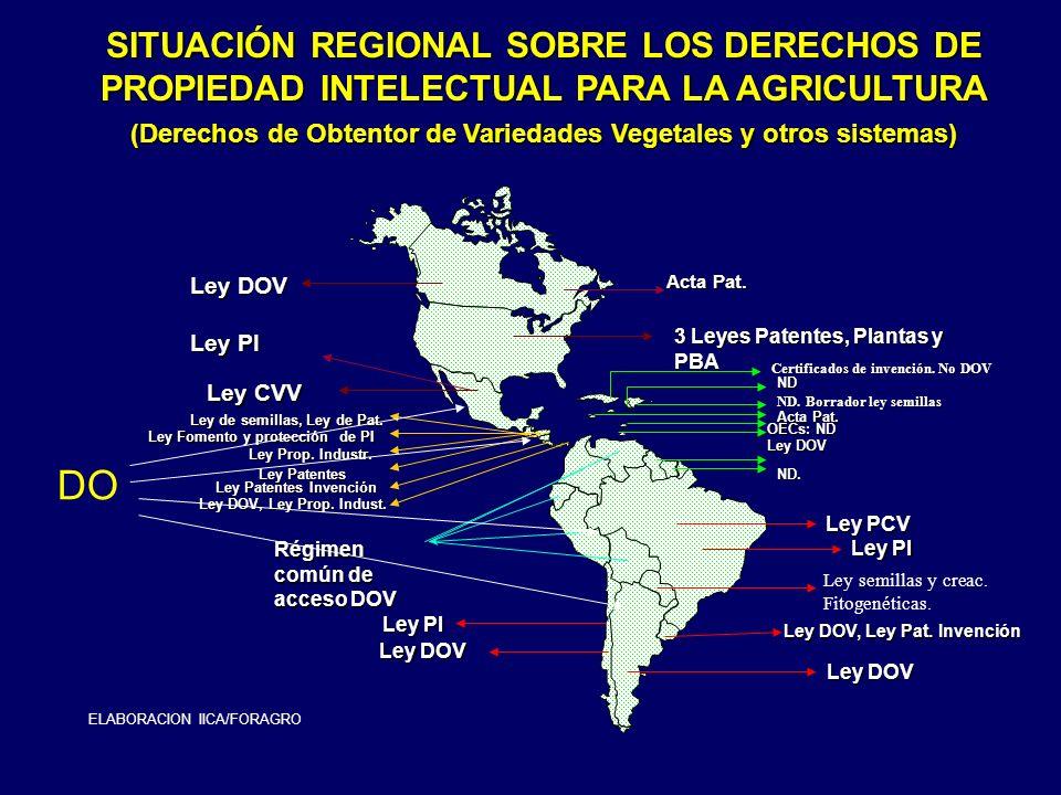 SITUACIÓN REGIONAL SOBRE LOS DERECHOS DE PROPIEDAD INTELECTUAL PARA LA AGRICULTURA (Derechos de Obtentor de Variedades Vegetales y otros sistemas) Ley