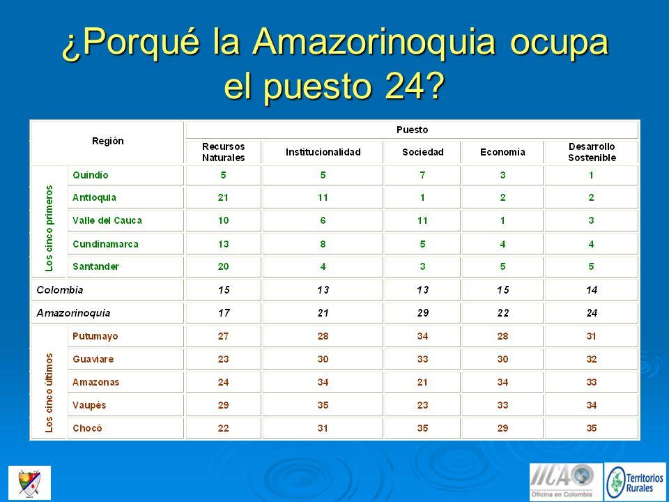 ¿Porqué la Amazorinoquia ocupa el puesto 24?