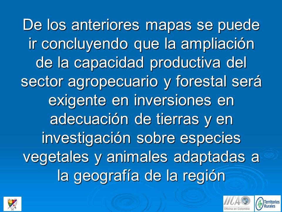De los anteriores mapas se puede ir concluyendo que la ampliación de la capacidad productiva del sector agropecuario y forestal será exigente en inver