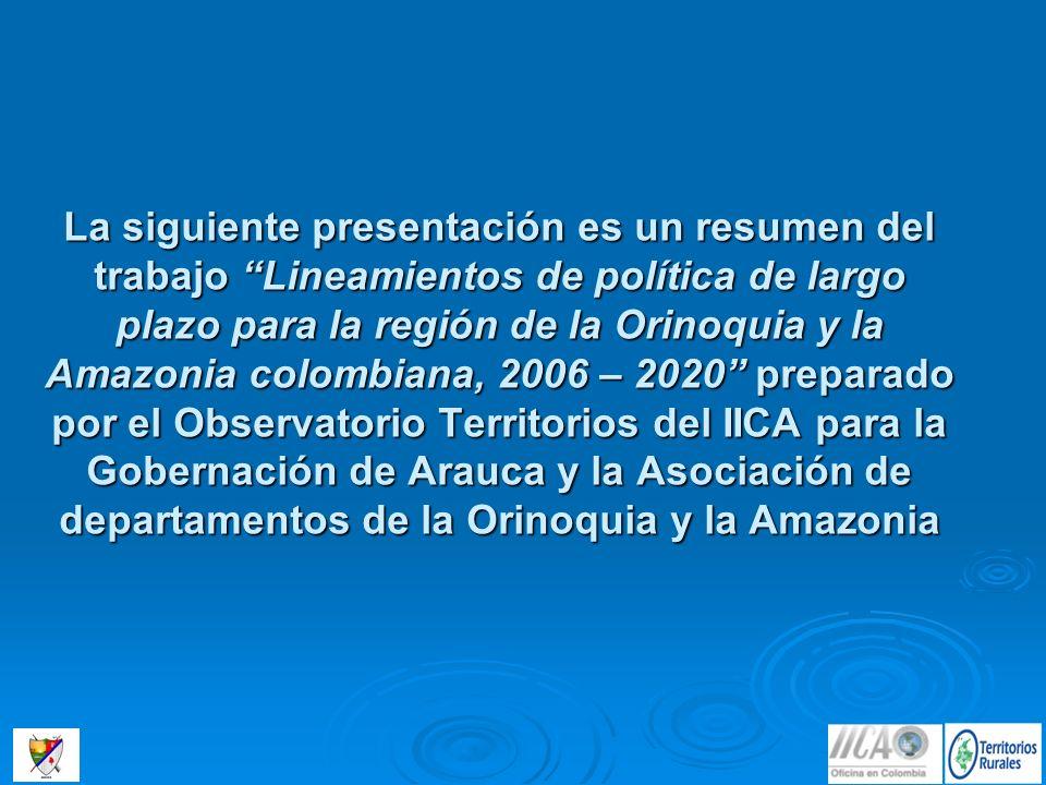 Arauca: Puesto 23 de 35, 41.6 puntos Amazorinoquia: Puesto 24, 41.5 puntos Caquetá: Puesto 28 de 35, 36 puntosVaupés: Puesto 34 de 35, 28 puntos Fuente: IICA - OT