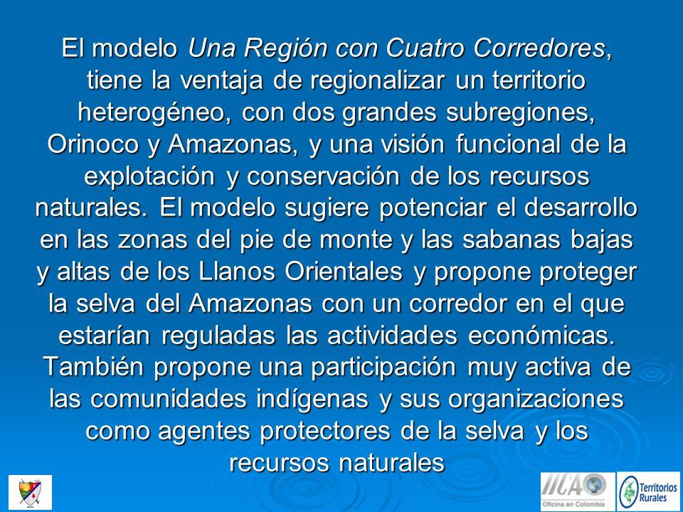 El modelo Una Región con Cuatro Corredores, tiene la ventaja de regionalizar un territorio heterogéneo, con dos grandes subregiones, Orinoco y Amazona