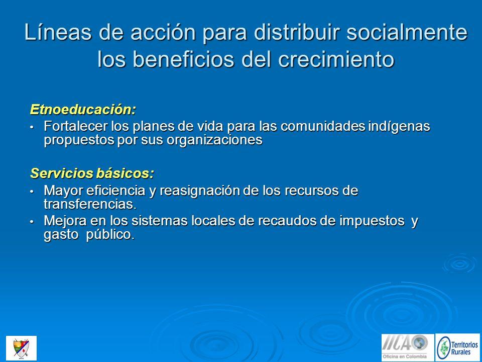 Líneas de acción para distribuir socialmente los beneficios del crecimiento Etnoeducación: Fortalecer los planes de vida para las comunidades indígena