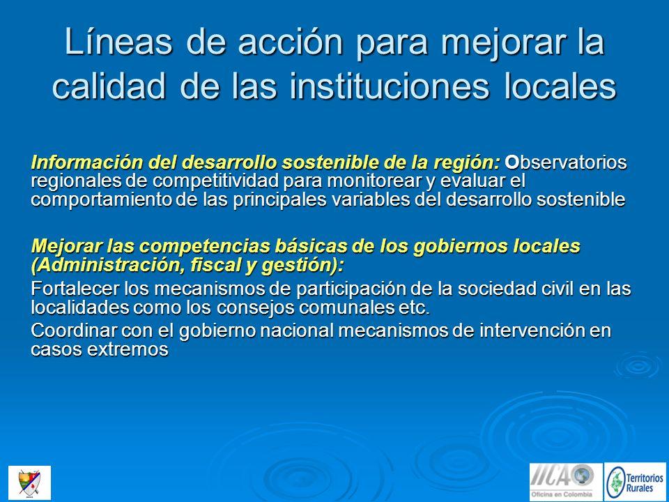 Líneas de acción para mejorar la calidad de las instituciones locales Información del desarrollo sostenible de la región: Observatorios regionales de