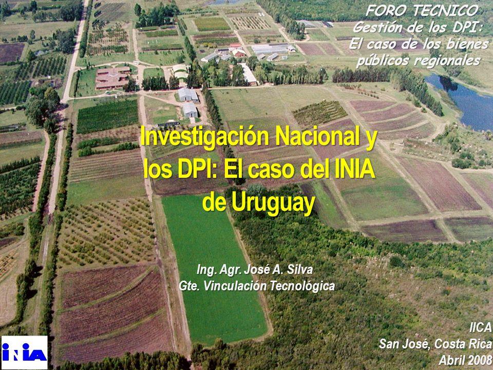 FORO TECNICO FORO TECNICO Gestión de los DPI: El caso de los bienes públicos regionales IICA San José, Costa Rica Abril 2008 Investigación Nacional y