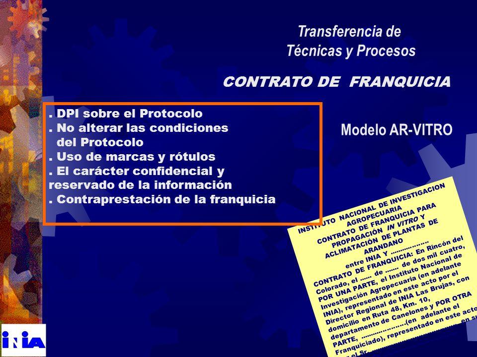 INSTITUTO NACIONAL DE INVESTIGACION AGROPECUARIA CONTRATO DE FRANQUICIA PARA PROPAGACIÓN IN VITRO Y ACLIMATACIÓN DE PLANTAS DE ARANDANO entre INIA Y...................