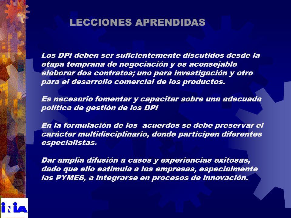 Los DPI deben ser suficientemente discutidos desde la etapa temprana de negociación y es aconsejable elaborar dos contratos; uno para investigación y