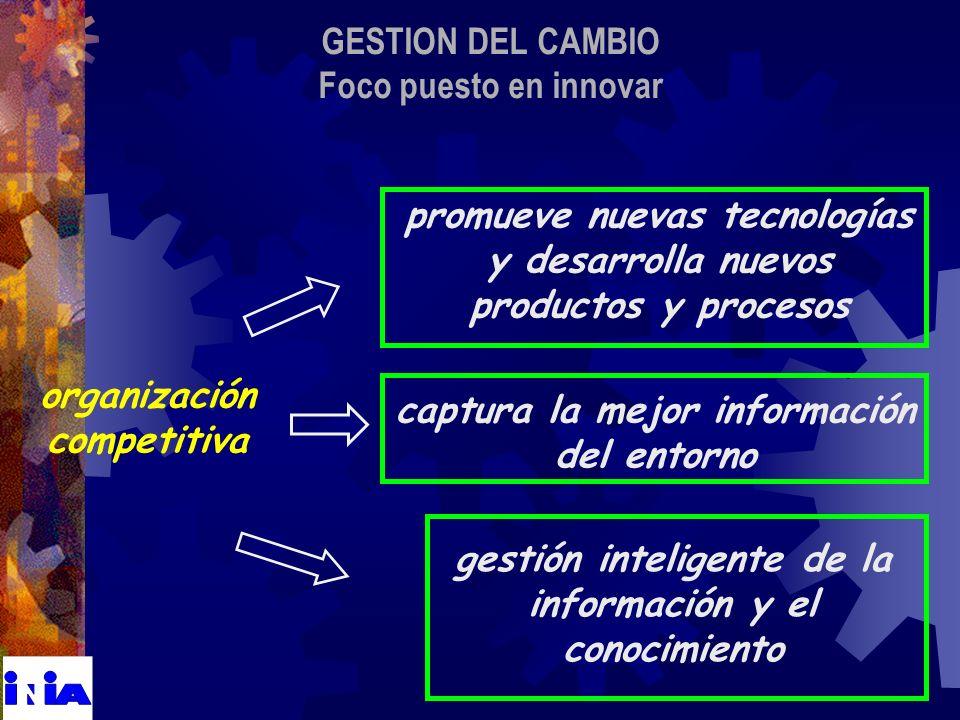 GESTION DEL CAMBIO Foco puesto en innovar organización competitiva gestión inteligente de la información y el conocimiento captura la mejor información del entorno promueve nuevas tecnologías y desarrolla nuevos productos y procesos