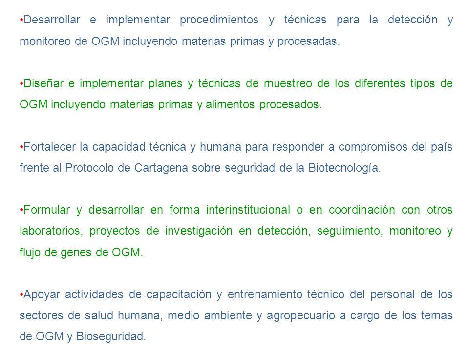 Desarrollar e implementar procedimientos y técnicas para la detección y monitoreo de OGM incluyendo materias primas y procesadas.