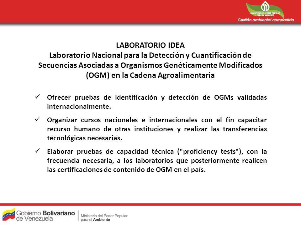 LABORATORIO IDEA Laboratorio Nacional para la Detección y Cuantificación de Secuencias Asociadas a Organismos Genéticamente Modificados (OGM) en la Ca