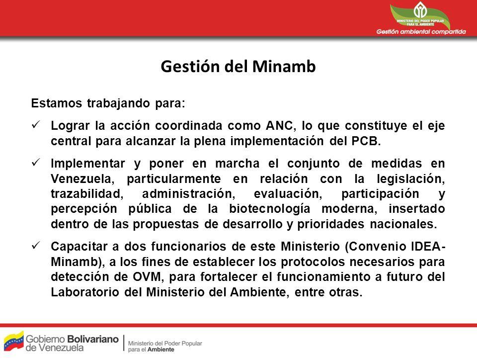 Gestión del Minamb Estamos trabajando para: Lograr la acción coordinada como ANC, lo que constituye el eje central para alcanzar la plena implementaci