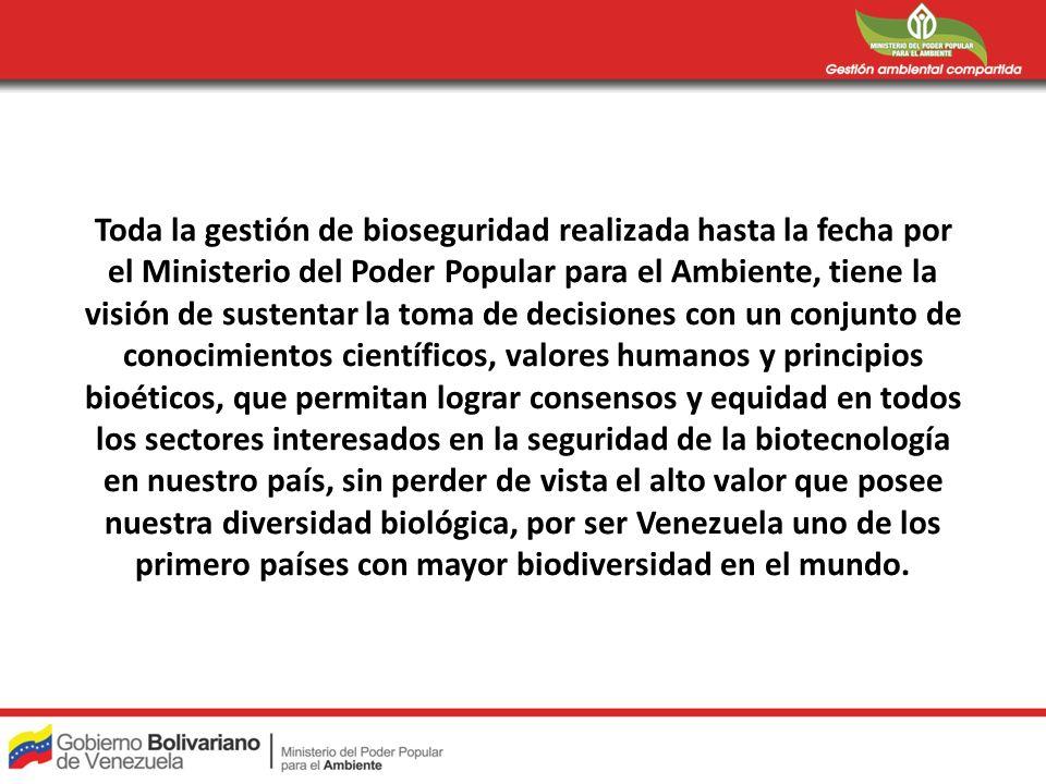 Toda la gestión de bioseguridad realizada hasta la fecha por el Ministerio del Poder Popular para el Ambiente, tiene la visión de sustentar la toma de