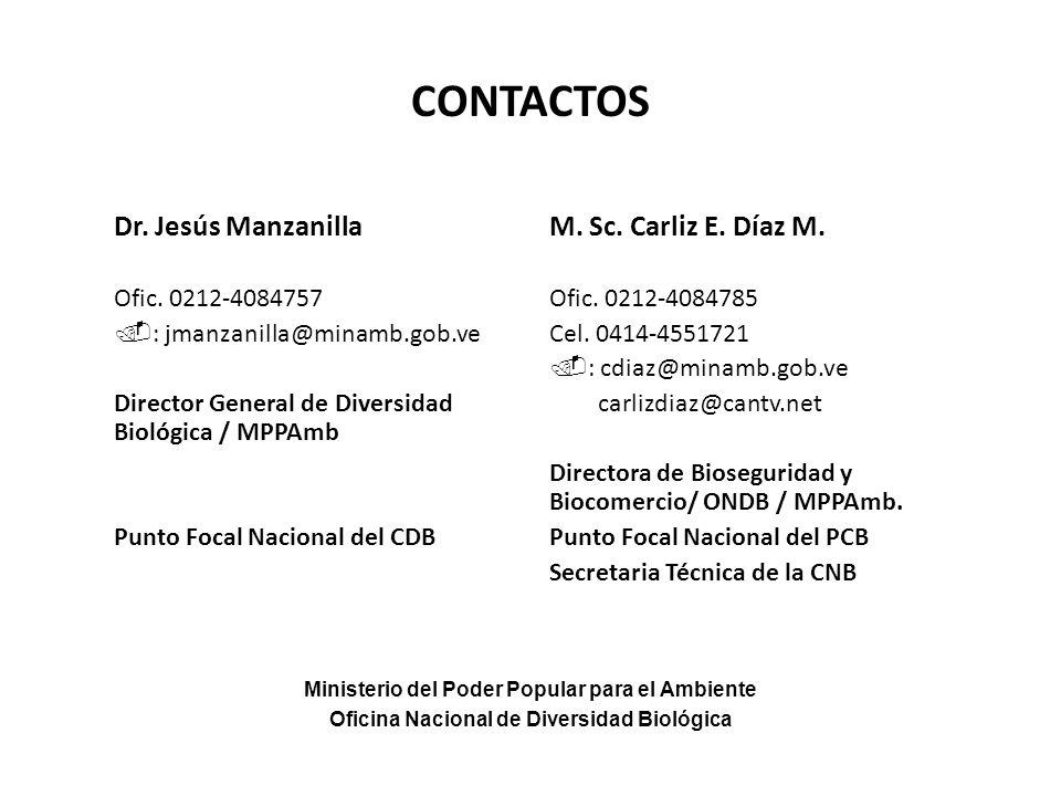 CONTACTOS Ministerio del Poder Popular para el Ambiente Oficina Nacional de Diversidad Biológica Dr. Jesús Manzanilla Ofic. 0212-4084757 : jmanzanilla
