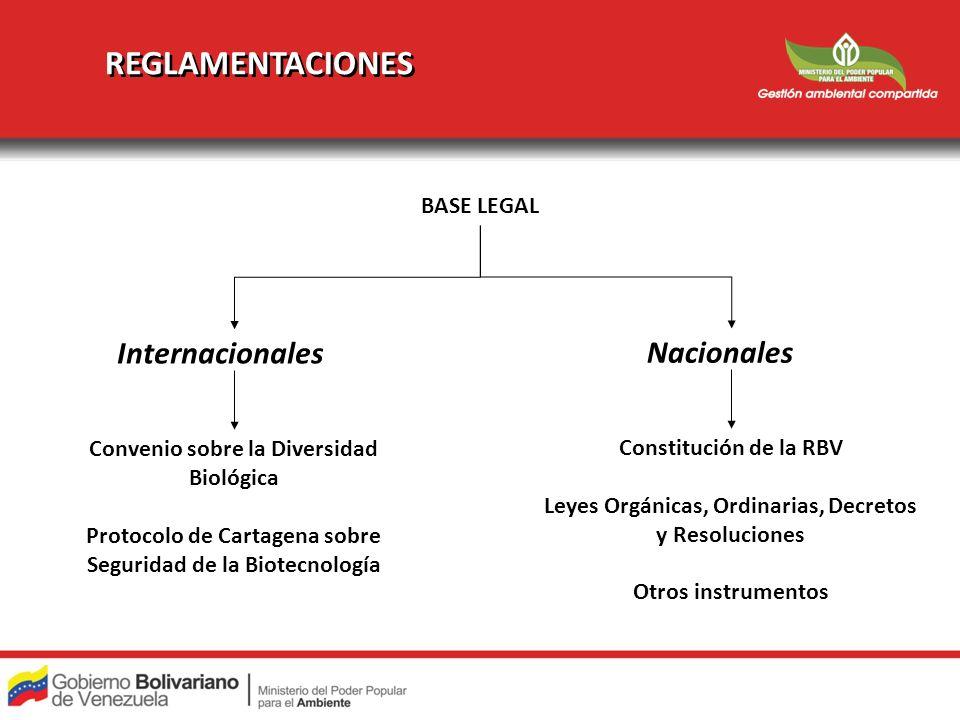 REGLAMENTACIONES Nacionales Internacionales Constitución de la RBV Leyes Orgánicas, Ordinarias, Decretos y Resoluciones Otros instrumentos Convenio so