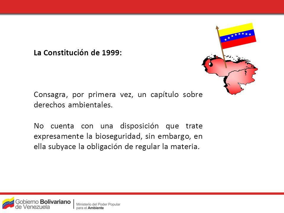 La Constitución de 1999: Consagra, por primera vez, un capítulo sobre derechos ambientales. No cuenta con una disposición que trate expresamente la bi