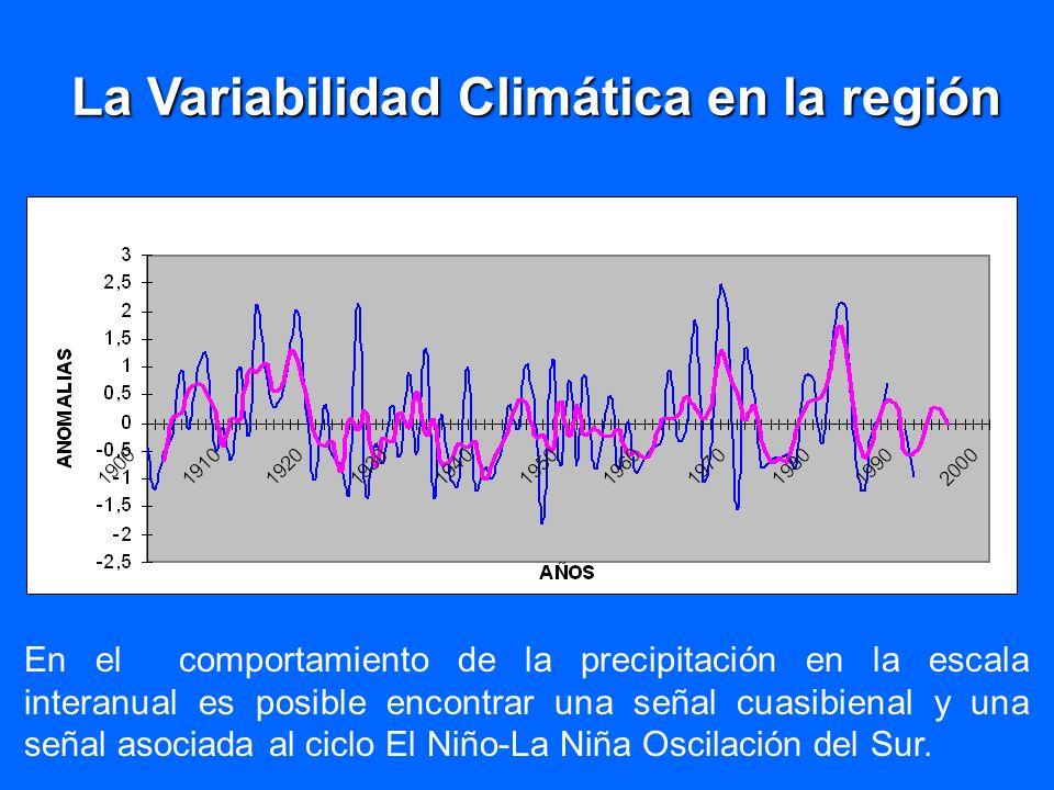 En el comportamiento de la precipitación en la escala interanual es posible encontrar una señal cuasibienal y una señal asociada al ciclo El Niño-La N