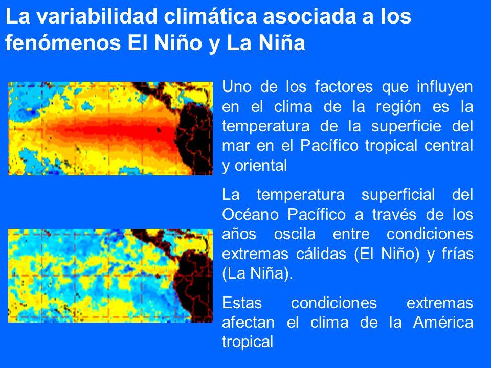 La variabilidad climática asociada a los fenómenos El Niño y La Niña Uno de los factores que influyen en el clima de la región es la temperatura de la
