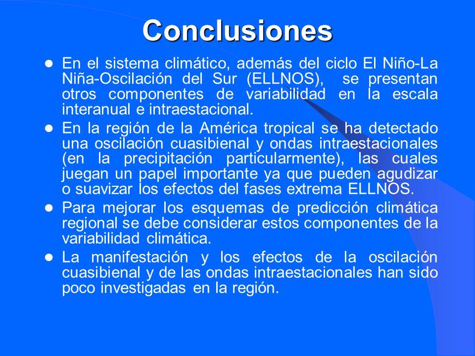 Conclusiones En el sistema climático, además del ciclo El Niño-La Niña-Oscilación del Sur (ELLNOS), se presentan otros componentes de variabilidad en