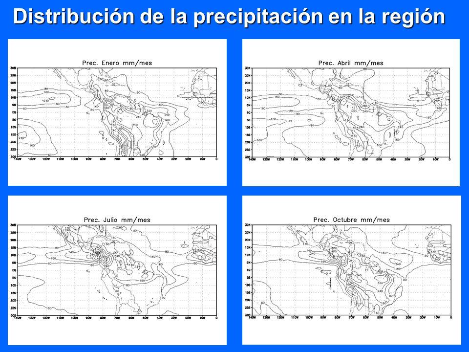 Régimen anual de la precipitación en la región