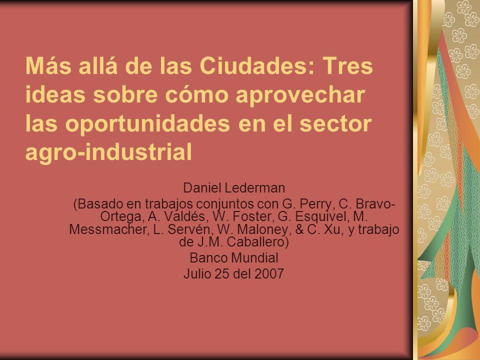 Más allá de las Ciudades: Tres ideas sobre cómo aprovechar las oportunidades en el sector agro-industrial Daniel Lederman (Basado en trabajos conjuntos con G.