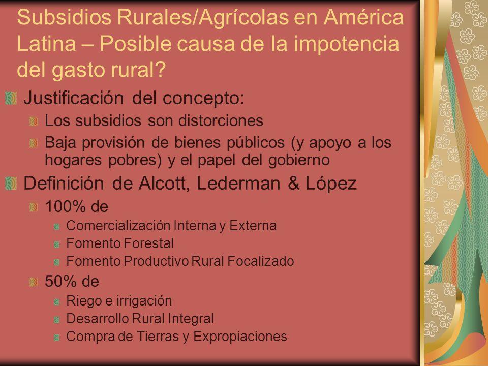 Subsidios Rurales/Agrícolas en América Latina – Posible causa de la impotencia del gasto rural.