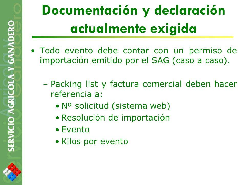 Documentación y declaración actualmente exigida Todo evento debe contar con un permiso de importación emitido por el SAG (caso a caso). –Packing list