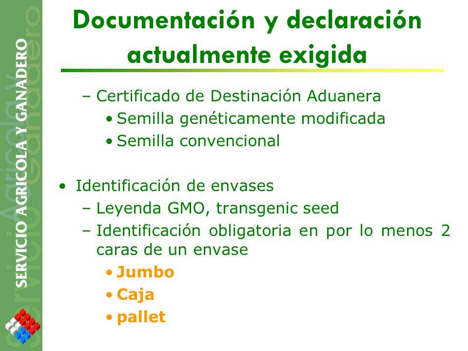 Documentación y declaración actualmente exigida –Certificado de Destinación Aduanera Semilla genéticamente modificada Semilla convencional Identificac