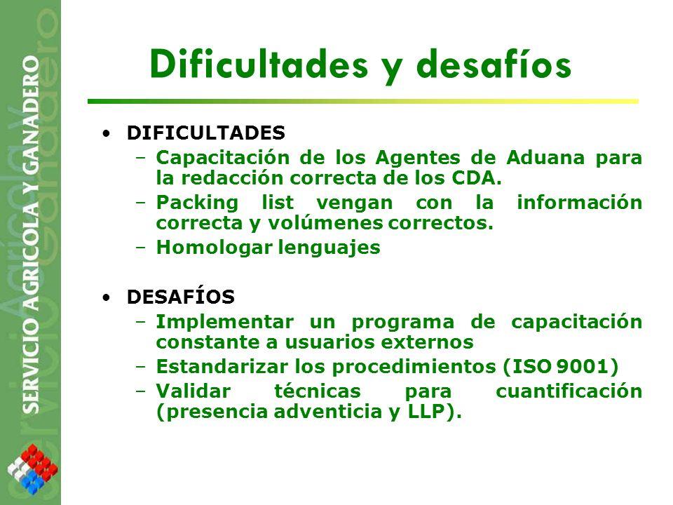 Dificultades y desafíos DIFICULTADES –Capacitación de los Agentes de Aduana para la redacción correcta de los CDA. –Packing list vengan con la informa