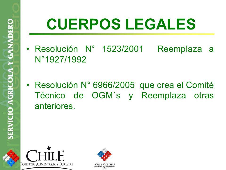 CUERPOS LEGALES Resolución N° 1523/2001 Reemplaza a N°1927/1992 Resolución N° 6966/2005 que crea el Comité Técnico de OGM´s y Reemplaza otras anterior