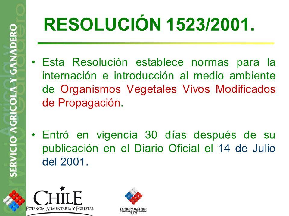 RESOLUCIÓN 1523/2001. Esta Resolución establece normas para la internación e introducción al medio ambiente de Organismos Vegetales Vivos Modificados