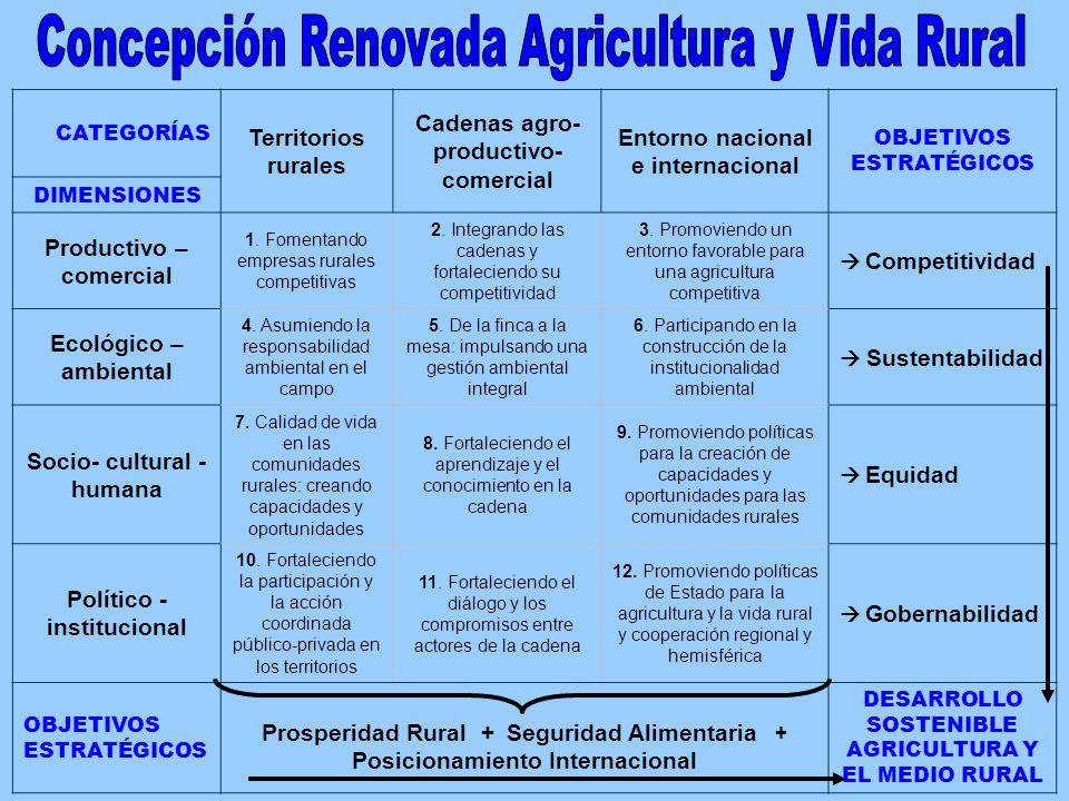 CATEGORÍAS Territorios rurales Cadenas agro- productivo- comercial Entorno nacional e internacional OBJETIVOS ESTRATÉGICOS DIMENSIONES Productivo – co