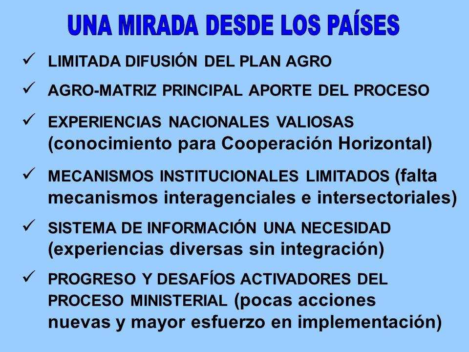 MECANISMOS INSTITUCIONALES LIMITADOS (falta mecanismos interagenciales e intersectoriales) SISTEMA DE INFORMACIÓN UNA NECESIDAD (experiencias diversas sin integración) LIMITADA DIFUSIÓN DEL PLAN AGRO EXPERIENCIAS NACIONALES VALIOSAS (conocimiento para Cooperación Horizontal) PROGRESO Y DESAFÍOS ACTIVADORES DEL PROCESO MINISTERIAL (pocas acciones nuevas y mayor esfuerzo en implementación) AGRO-MATRIZ PRINCIPAL APORTE DEL PROCESO