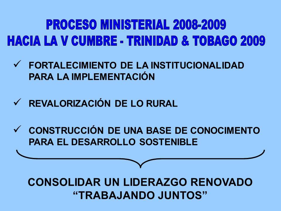 FORTALECIMIENTO DE LA INSTITUCIONALIDAD PARA LA IMPLEMENTACIÓN CONSTRUCCIÓN DE UNA BASE DE CONOCIMENTO PARA EL DESARROLLO SOSTENIBLE REVALORIZACIÓN DE LO RURAL CONSOLIDAR UN LIDERAZGO RENOVADO TRABAJANDO JUNTOS