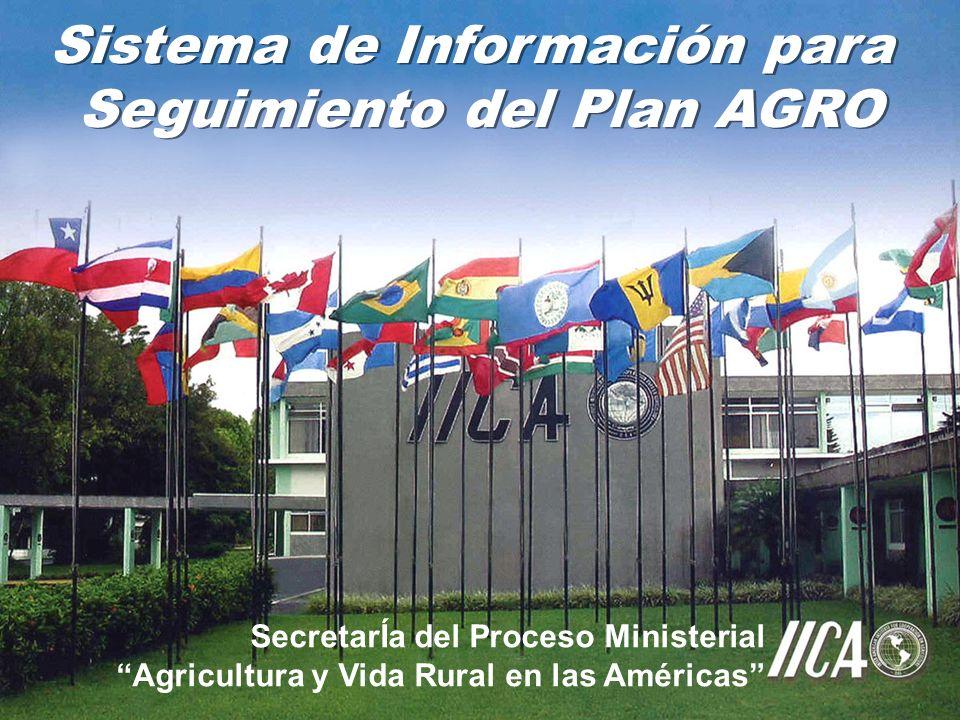 Sistema de Información para Seguimiento del Plan AGRO Sistema de Información para Seguimiento del Plan AGRO SecretarÍa del Proceso Ministerial Agricultura y Vida Rural en las Américas