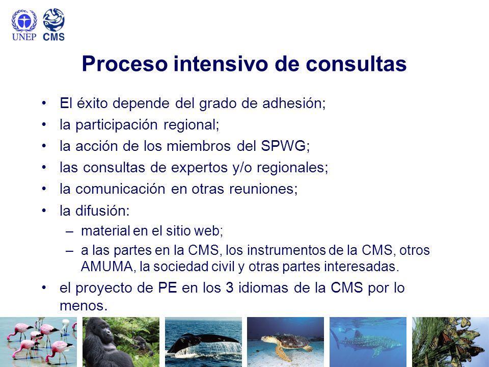 Proceso intensivo de consultas El éxito depende del grado de adhesión; la participación regional; la acción de los miembros del SPWG; las consultas de