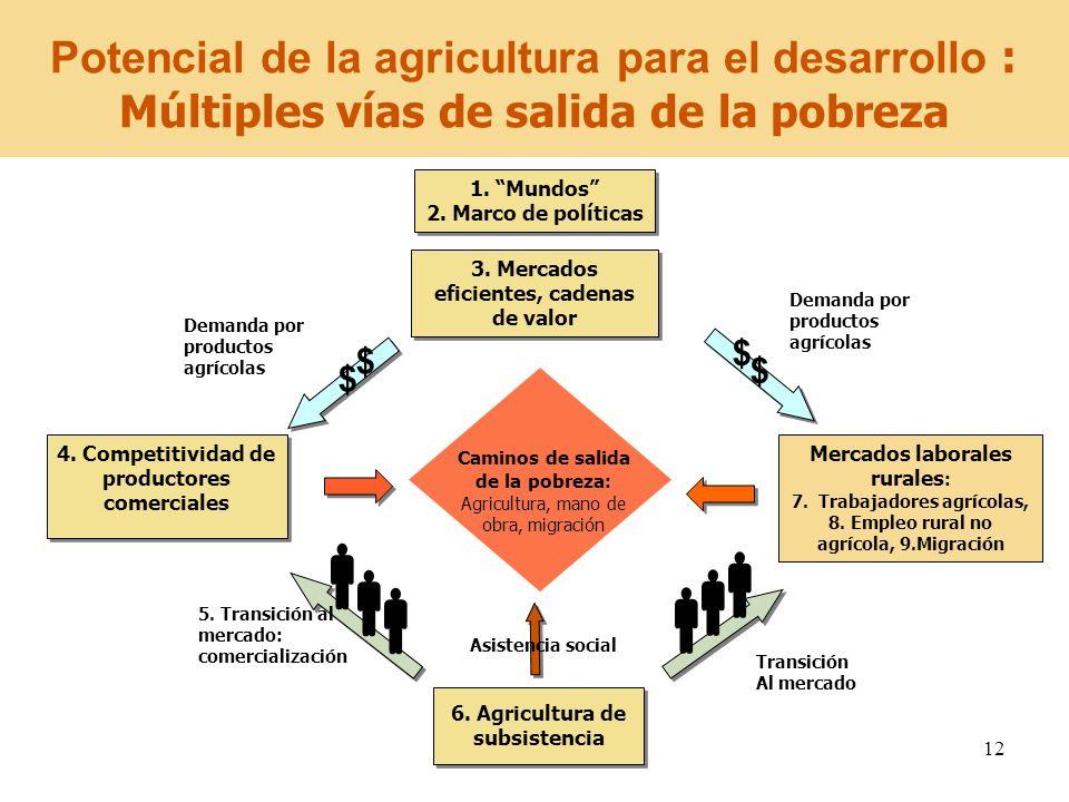 12 6. Agricultura de subsistencia Caminos de salida de la pobreza : Agricultura, mano de obra, migración Transición Al mercado Demanda por productos a