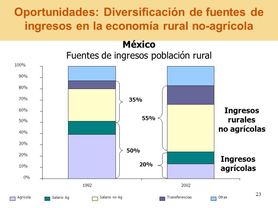 23 Oportunidades: Diversificación de fuentes de ingresos en la economía rural no-agrícola México Fuentes de ingresos población rural Ingresos rurales