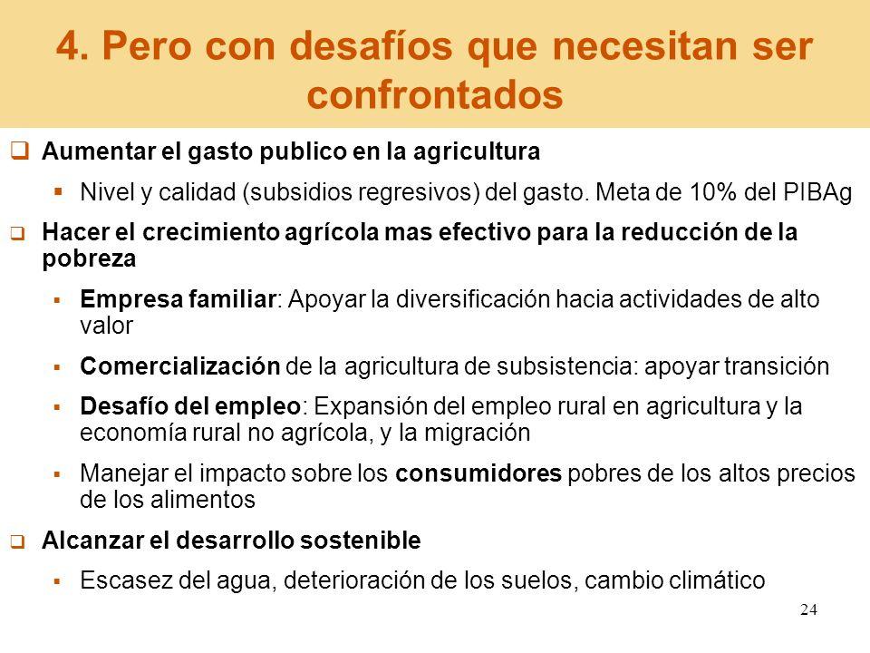 24 4. Pero con desafíos que necesitan ser confrontados Aumentar el gasto publico en la agricultura Nivel y calidad (subsidios regresivos) del gasto. M