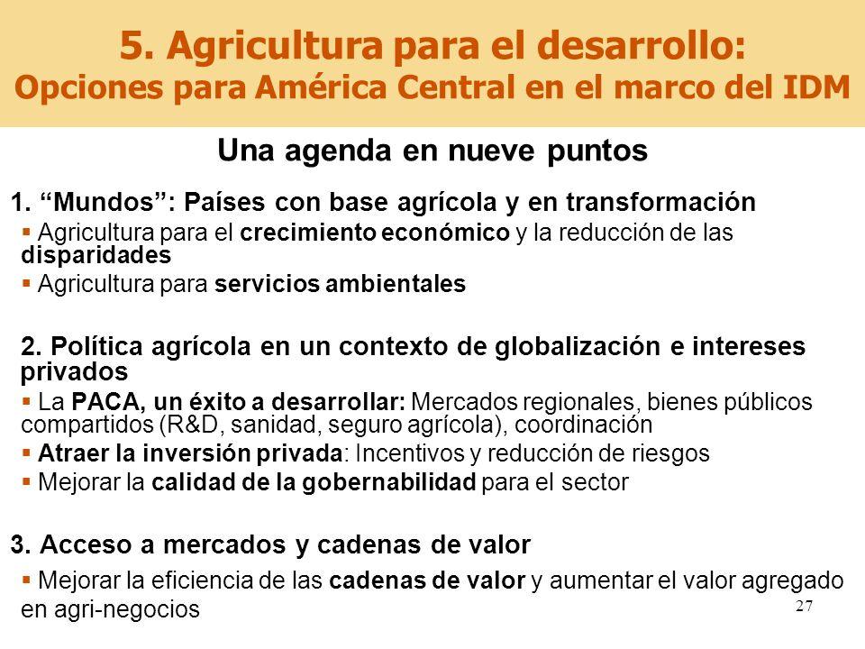 27 5. Agricultura para el desarrollo: Opciones para América Central en el marco del IDM Una agenda en nueve puntos 1. Mundos: Países con base agrícola