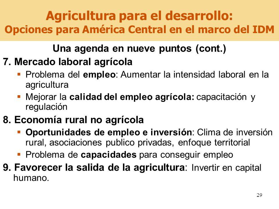 29 Agricultura para el desarrollo: Opciones para América Central en el marco del IDM Una agenda en nueve puntos (cont.) 7. Mercado laboral agrícola Pr