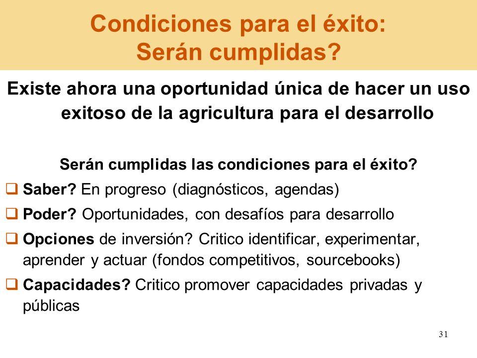 31 Condiciones para el éxito: Serán cumplidas? Existe ahora una oportunidad única de hacer un uso exitoso de la agricultura para el desarrollo Serán c